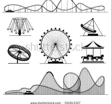 Oder Luna Park Roller Unterhaltung Vektorset Stock Vektorgrafik Lizenzfrei 552913327 Amusement Ride Or Lun Imagenes Dia Del Nino Montana Rusa Parque Dibujo