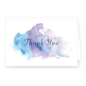 Thank You Blue Purple Watercolor 4 X 6 Folded Note Card This Chic Blue Purple Watercolor Thank You Was Desi Folded Note Card Note Cards Purple Watercolor
