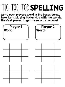 TicTacToe Spelling  Tic Tac Toe Spelling Activities And Word Work
