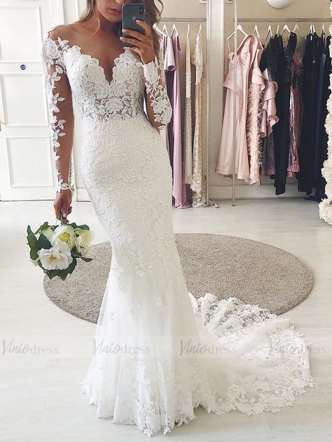 Lace Ivory Wedding Dresses Mermaid Bridal Gowns Robe De Mariee Plus Size Sweep T. - Lace Ivory Wedding Dresses Mermaid Bridal Gowns Robe De Mariee Plus Size Sweep Train Illusion Long - Lace Wedding Dress With Sleeves, Lace Mermaid Wedding Dress, Long Wedding Dresses, Long Sleeve Wedding, Mermaid Dresses, Bridal Lace, Bridal Dresses, Wedding Gowns, Cute Dresses For Weddings
