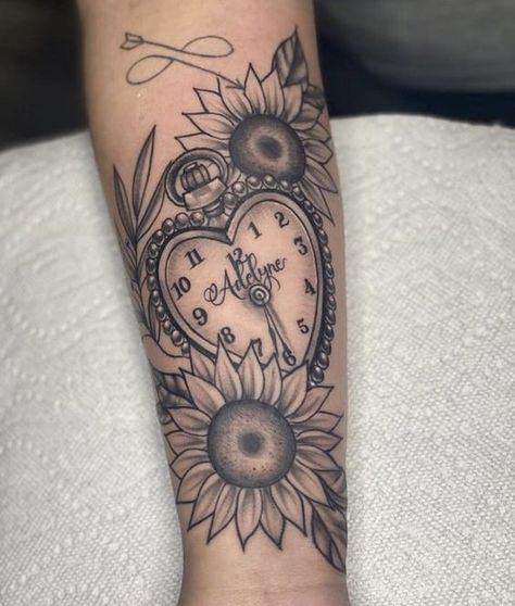 Baby Feet Tattoos, Mommy Tattoos, Tattoos For Kids, Mother Tattoos, Arm Sleeve Tattoos For Women, Half Sleeve Tattoos For Guys, Clock Tattoo Sleeve, Clock Tattoos, Time Clock Tattoo