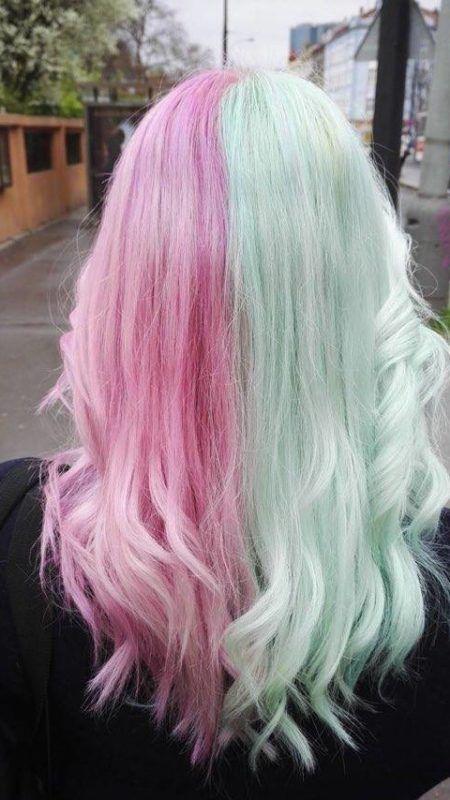 Split Dyed Pastel Green Pink Hair Bicolor Hair Half And Half Hair Half Colored Hair Cool Hair Color