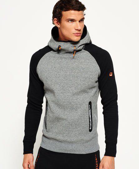 Superdry Orange Label Raglan Pullover Hoodie Low Light Black Grit