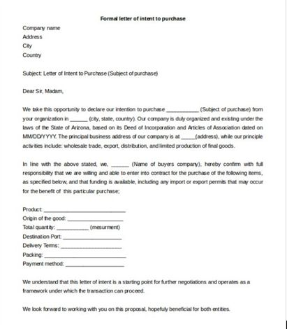 letter of intent template to purchase goods, Formal letter of - letter of intent for business sample