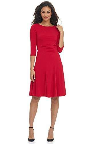 Rekucci Womens Flippy Fit N Flare Dress with 3//4 Sleeves