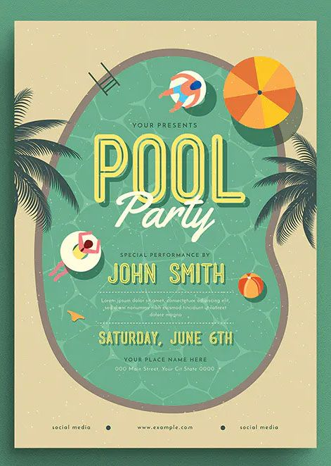 Summer Pool Party Flyer Template In 2021 Pool Parties Flyer Summer Pool Party Pool Party