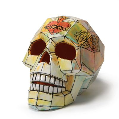 Day Of The Dead Decorated Faceted Ceramic Skull Bisque Shape Ceramic Painting Pottery Supplies Skull Painting