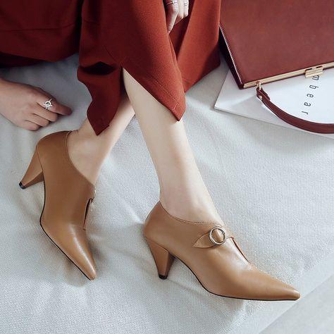 Fheaven Women Summer Fashion Low Heel Pump Shoes Elegant Bowknot Pointed Toe Sandals Ankle Straps Dress Shoes