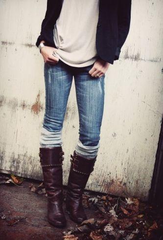wholesale dealer recognized brands online store Sock Trend: Under Boots, Over Jeans | s t y l e | Fashion ...