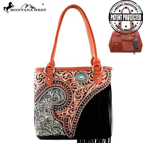 MW379G-8014 Montana West Fringe Collection Concealed Handgun Tote-Black  #western #momtanawest #west #handbaloverusa #rustic #rusty #country #purse #countrygirl #cattle #american #cowgirl #texas #texan #USA #cowgirl #cattle #countryside #countrylife #gun #guncarry #aztec