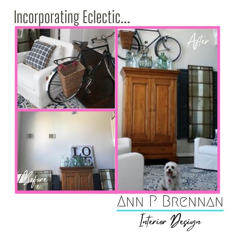 Celebrate your super high ceilings with a styled blend of eclectic items! www.AnnPBrennanInteriorDesign.com #eclecticstyle #highceilings #interiordesign #collections #bikeart #AnnPBrennan #homeideas #beforeandafter