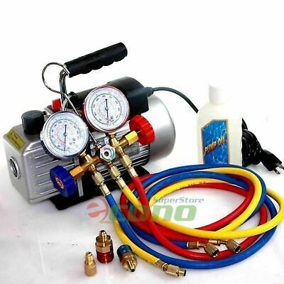 Ad Ebay Deluxe R134a R12 R22 R502 Manifold Gauge Set 2 5cfm Vacuum Pump 5ft Hvac Hoses In 2020 Vacuum Pump Hvac Hvac Air Conditioning