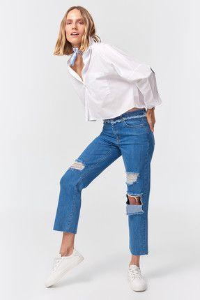 شلوار جین مام استایل پاره ماوی Mavi فروشگاه اینترنتی خرید اینترنتی لباس پوشاک زنانه دخترانه مردانه Fashion Tops Women S Top
