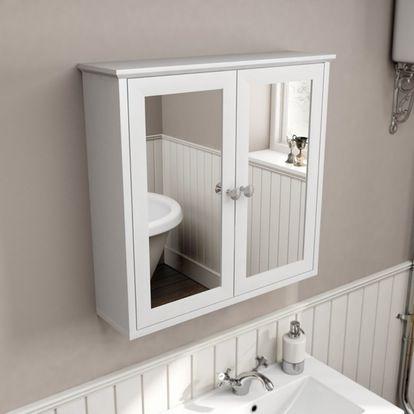 The Bath Co Camberley White Mirror Cabinet 598 X 620mm Mirror Cabinets Bathroom Mirror Storage White Bathroom Mirror