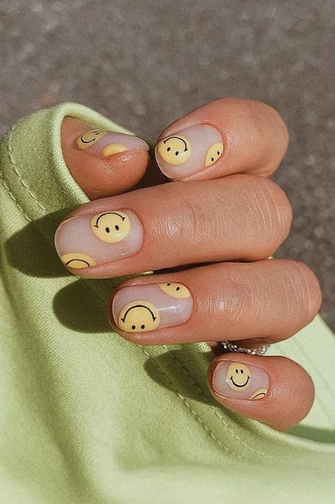 Smiley Face Nails In 2020 Spring Acrylic Nails Classy Acrylic Nails Bling Acrylic Nails