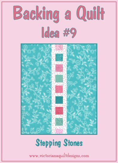 Backing a Quilt Idea #9 Take the leftover fabrics from the quilt and use them in the center strip on the back. More ideas here: http://www.victorianaquiltdesigns.com/VictorianaQuilters/Library/UsefulInfo/VQDInspiration/QuiltBackingIdeas.htm #quilting