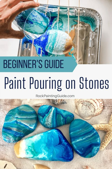 Acrylic Paint Pouring on Rocks for Beginners Easy tutorial for paint pouring basics rockpainting acrylicpouring art stonepainting create - Rock Crafts, Diy Crafts To Sell, Diy Crafts For Kids, Easy Crafts, Art For Kids, Stone Crafts, Crafts With Rocks, Painted Rocks Craft, Craft Paint