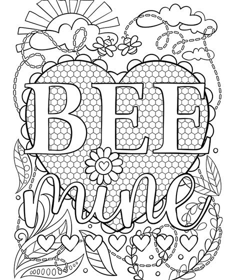 Free Bee Mine Valentine S Day Coloring Page Valentine Coloring