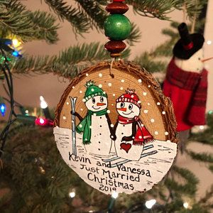 Snowman Christmas Ornaments Personalized And Made To Order Made In Canada In 2020 Personalized Christmas Ornaments Snowman Christmas Ornaments Merry Christmas Baby