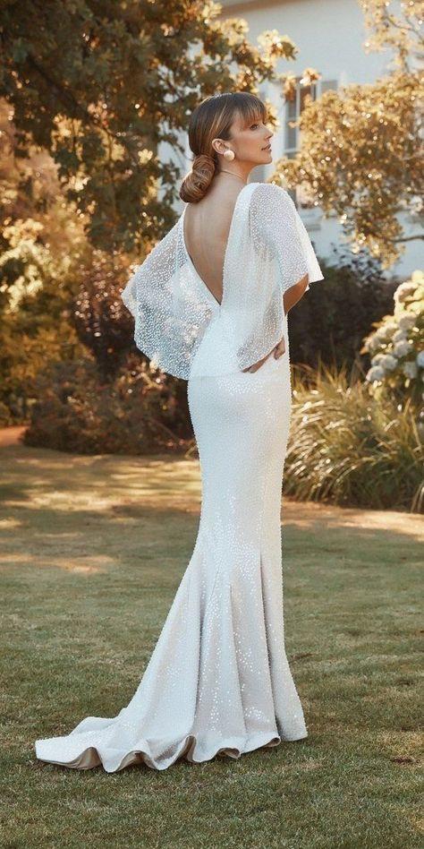 30 Breathtaking Low Back Wedding Dresses ❤  low back wedding dresses mermaid with cape sleeves vagabondbridal #weddingforward #wedding #bride