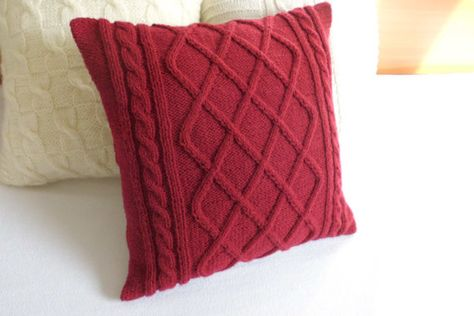 Cable knit burgundy pillow cover hand