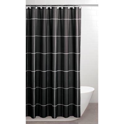 Landon 70 Inch X 72 Inch Shower Curtain Hook Set In Black White