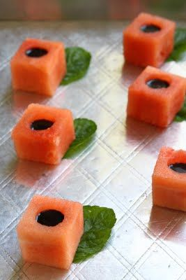 Watermelon Balsamic Cubes by showfoodchef (To make the syrup:  boil 3oz of balsamic vinegar with 1 tbls of sugar or honey in a saucepan until it has reduced to a syrup. It will be very fragrant and strong, don't stand too close over the pan. It's ready when the syrup can coat the back of a wooden spoon. It also thickens a little as it cools. It would take about 8-10 minutes)