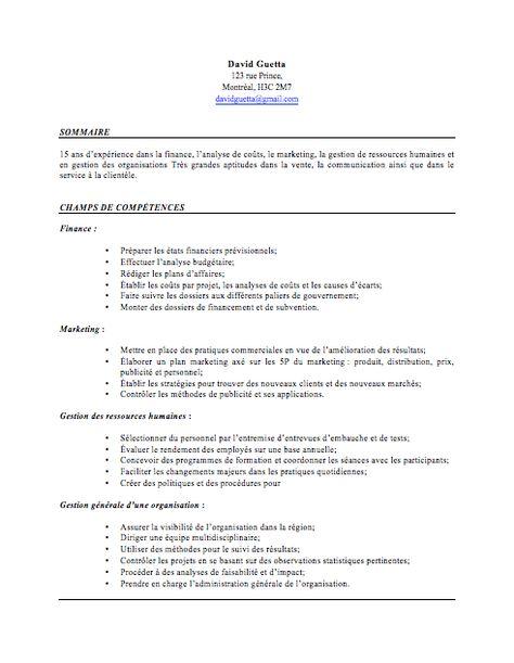 Exemple de CV par compétences - Page 1 Job Pinterest - sandwich maker resume