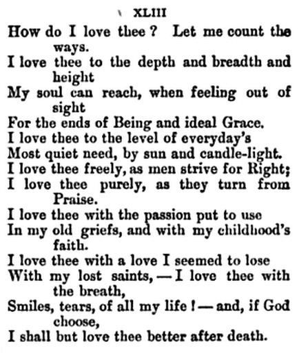 """How Do I Love Thee?"" — Elizabeth Barrett Browning"