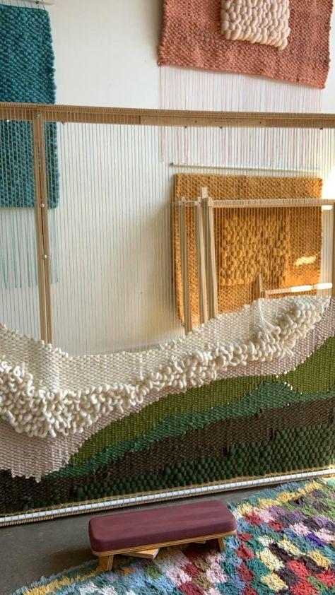 Weaving in Maryanne moodie studio tapestry