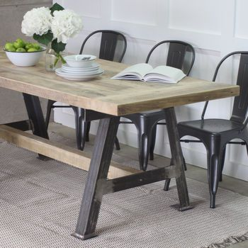 A Game Reclaimed Wood Dining Table With Steel A Frame In 2020