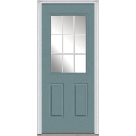 Mmi Door 36 In X 80 In Grilles Between Glass Right Hand Inswing 1 2 Lite Clear Painted Fiberglass Smooth Prehung Front Door Z011222r Prehung Doors Clear Glass Doors