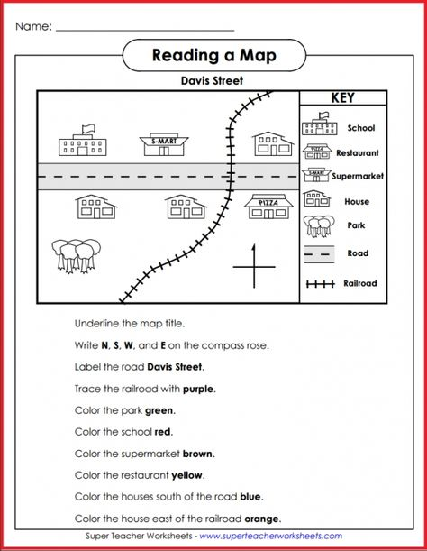 Teach basic map skills with this printable map activity. Students will learn how to read a map legend or key, follow directions, and recognize North, South, East, and West on a compass rose.