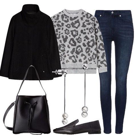 Combinazione easy per tutti i giorni: cappotto corto nero