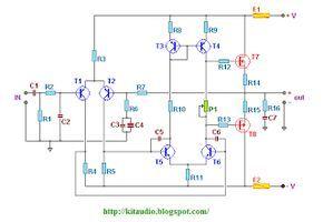 Wiring Schematic Diagram: 100 W 8 ohms MOSFET amplifier with IRF9540