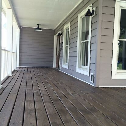 How To Paint A Diy Stained Front Porch Staining Deck Grey Houses Porch Flooring