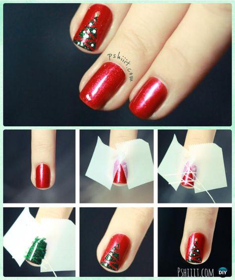 DIY Christmas Tree Nail Art Instruction-DIY Christmas Nail Art Ideas