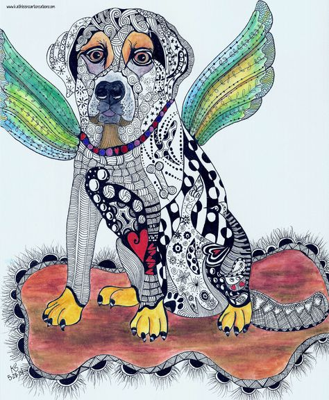 """Whimsical Zentangle Labrador dog named """"Angel"""" - Completed 5-28-14.  A 12-pack of note cards are available for $23.00 with FREE shipping and handling.  Prints also available."""