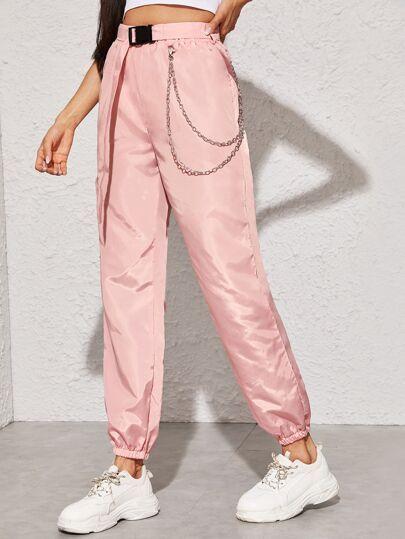Shein Pantalones Viento Con Diseno De Cadena Con Cinturon Con Hebilla Source Link Cadena Ropa Para Ninas Fashion Pantalones De Moda Moda De Ropa