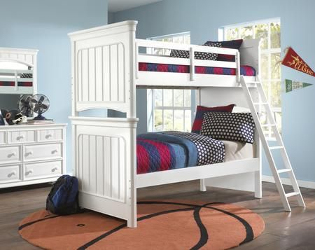 8466 Br K16 Summertime Youth Twin Bunk White Bunk Beds Bedroom