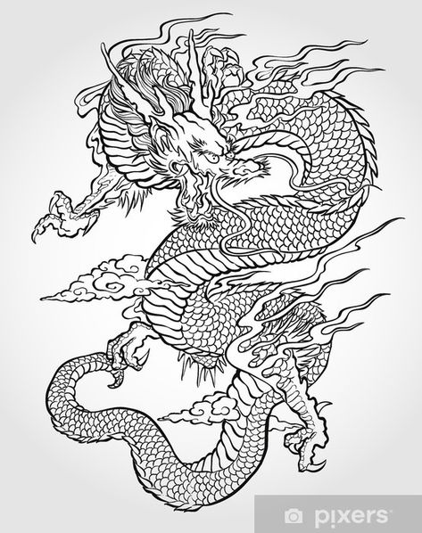Chinese Dragon Coloring Pages . 30 Awesome Chinese Dragon Coloring Pages . Chinese Dragon Head Coloring Pages 1456 Dragon Head Dragon Tattoo Drawing, Asian Dragon Tattoo, Japanese Dragon Tattoos, Dragon Tattoo Back, Dragon Sleeve Tattoos, Wing Tattoos, Arabic Tattoos, Celtic Tattoos, Tattoo Coloring Book