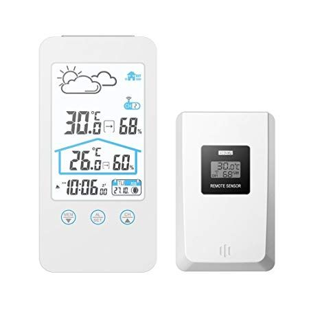Gaoag Digital Wireless Hygrometer Touch Screen Thermometer Wireless Temperature Indoor Outdoor Temperature Hygrometer With Led Backlight Review Hygrometer Thermometer Hygrometers