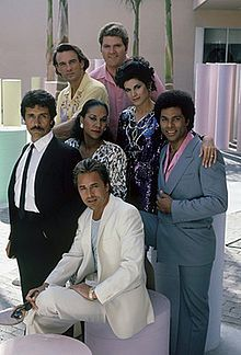 The cast members of Miami Vice (from left to right): (top) John Diehl, Michael Talbott, Saundra Santiago (middle) Edward James Olmos, Olivia Brown, Philip Michael Thomas (bottom) Don Johnson.