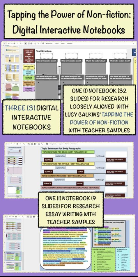 Research Digital Notebooks (Tapping the Power of Non-fiction, Essay, Group Book)