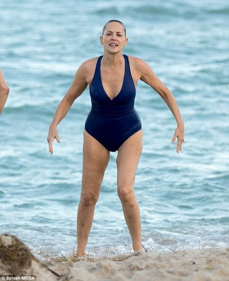 Sharon Stone, shows off incredible body in swimsuit The Basic Instinct star was spotted enjoying her time on the beach in Florida on Friday. Sharon looked incredible in a tight blue one-piece as she frolicked in the sea with a male companion.