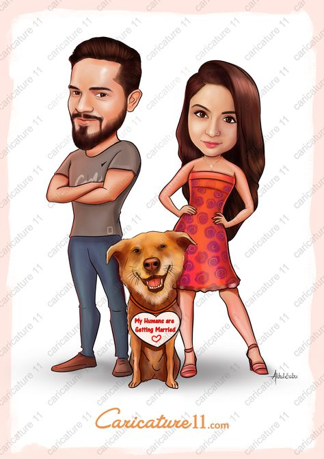 Wedding caricature , Indian wedding invitation , wedding art gifts, digital illustration of couple , couple comic