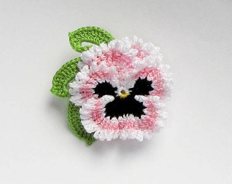 Blue Crochet Flower Brooch Irish Crochet Pansy Pin Ready To Etsy Crochet Flowers Crochet Flower Patterns Knitted Flowers
