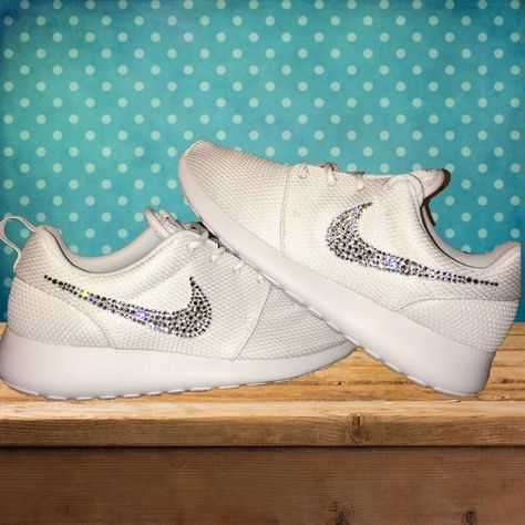 low priced 3fafc ddf6d Nike Roshe White on White with Swarovski Crystals Authentic Womens Nike  Roshe One Running Shoes in WhiteWhite. Outer swooshes are encrusted with  hundreds ...