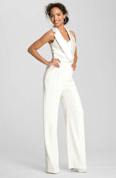 Jumpsuit Fur Hochzeit Eleganter Overall Als Hochzeitsoutfit Der Braut Bride Party Dress Wedding Suits For Bride White Wedding Suit