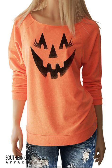 Pumpkin Face Halloween Shirts. Women's Halloween Shirts.